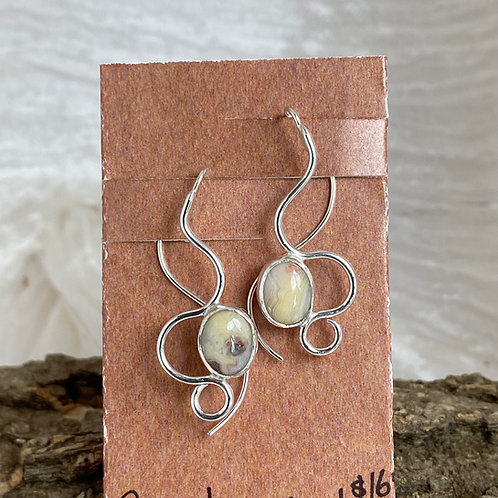 Crazy Lace Agate Winding Path earrings