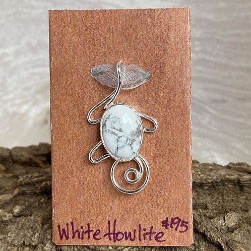 White Howlite Jester pendant