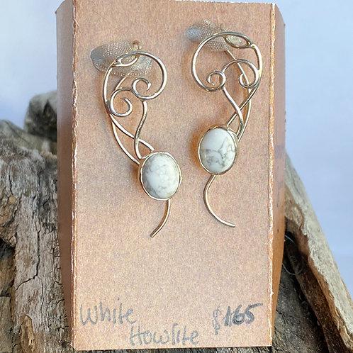 White Howlite Musical earrings
