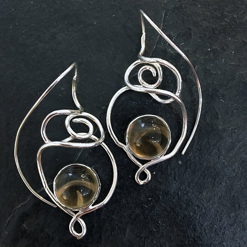 Smoky Sphere Reverse Hook Earrings