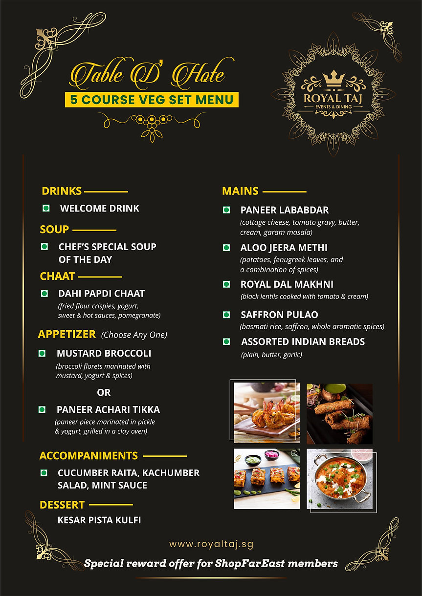 Far East Rewards Set Course Meal for 2.j