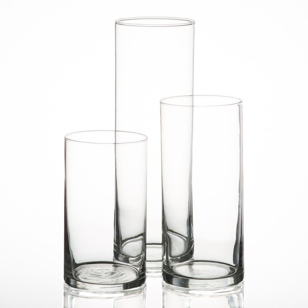 set/3 glass pillar candle cylinder