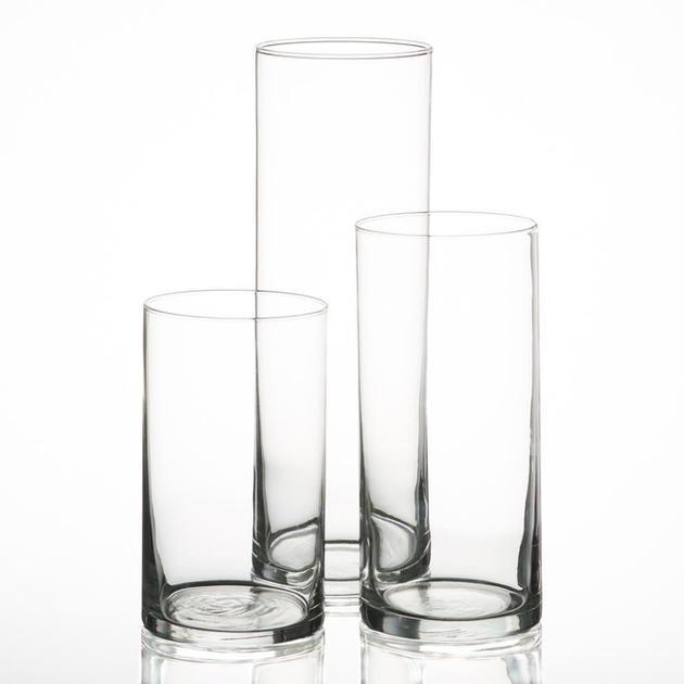 set/3 glass pillar candle cylinder