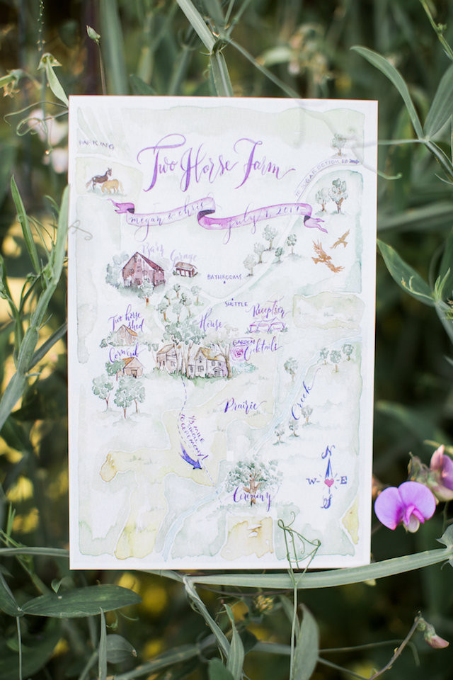 water color wedding farm map