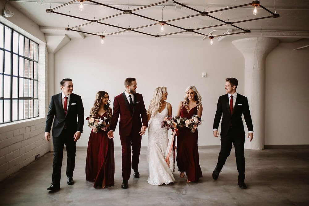 bridal party at the harmac with Studio Bloom Iowa wedding flowers