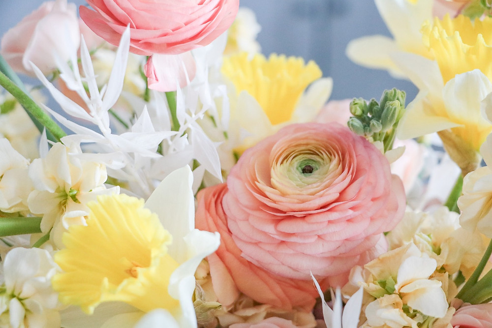 spring flowers in peach and yellow by Studio Bloom Iowa