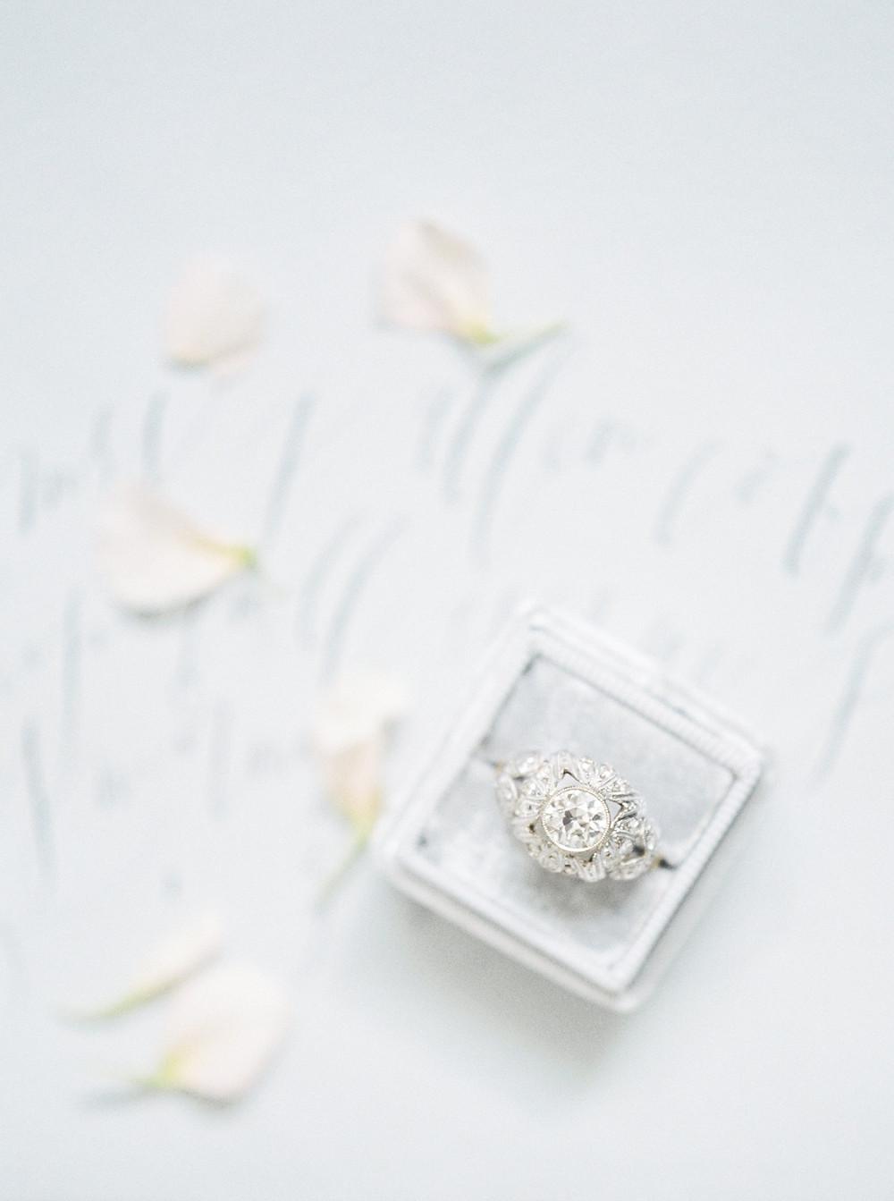 diamond ring in white mrs box velvet ring box