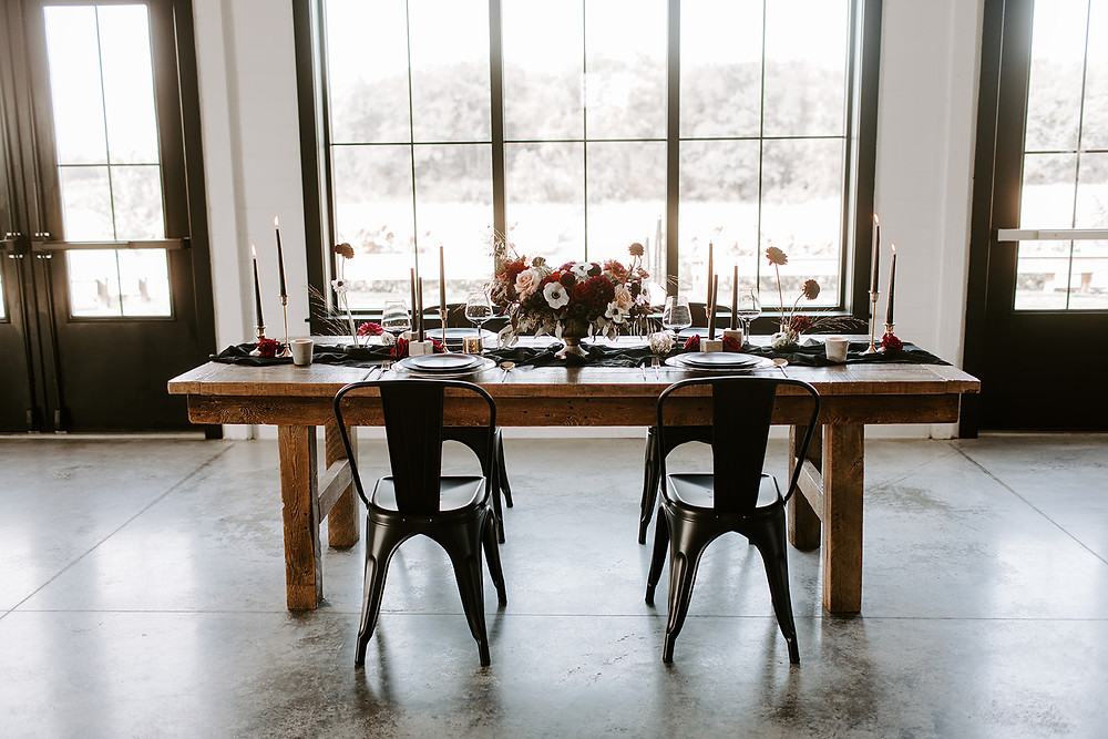 moody black and red wedding centerpiece inspiration at Ashton Hill Farm
