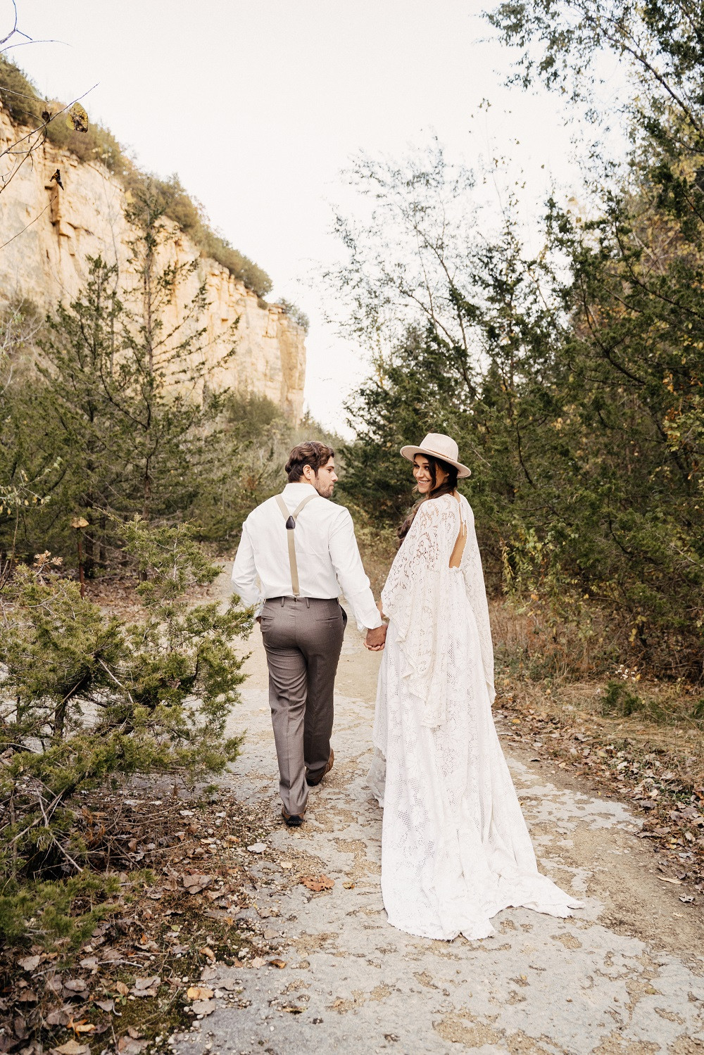 boho bride and groom at the mines of spain in dubuque iowa