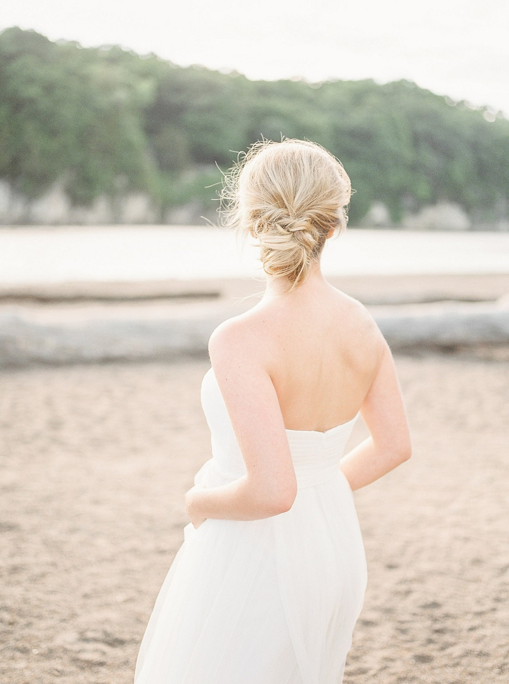 bride at beach wedding session at Palisades Kepler State Park