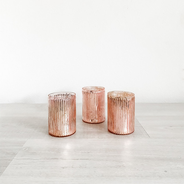 blush mercury glass votive