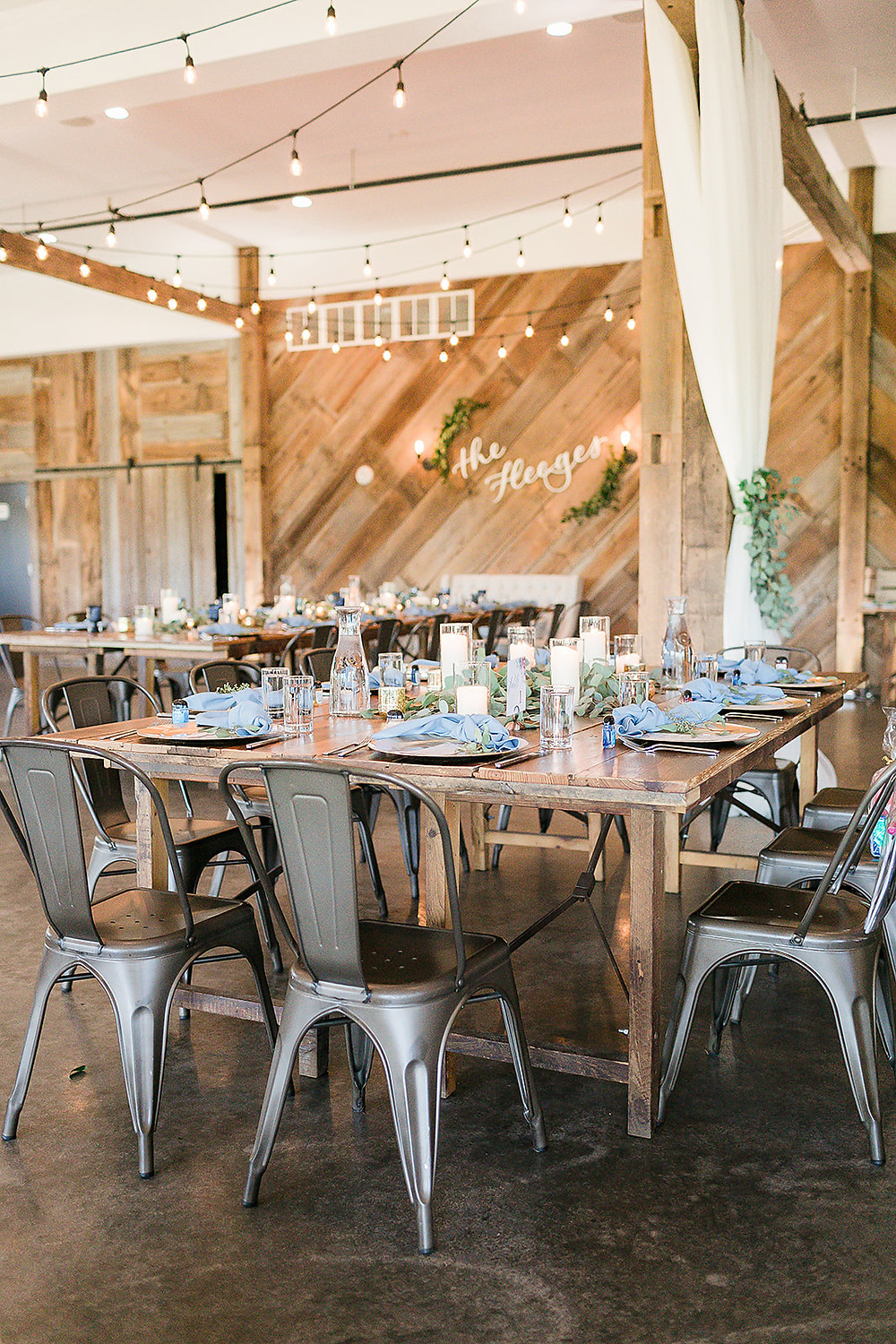 blue wedding at Rapid Creek Cidery in Iowa City