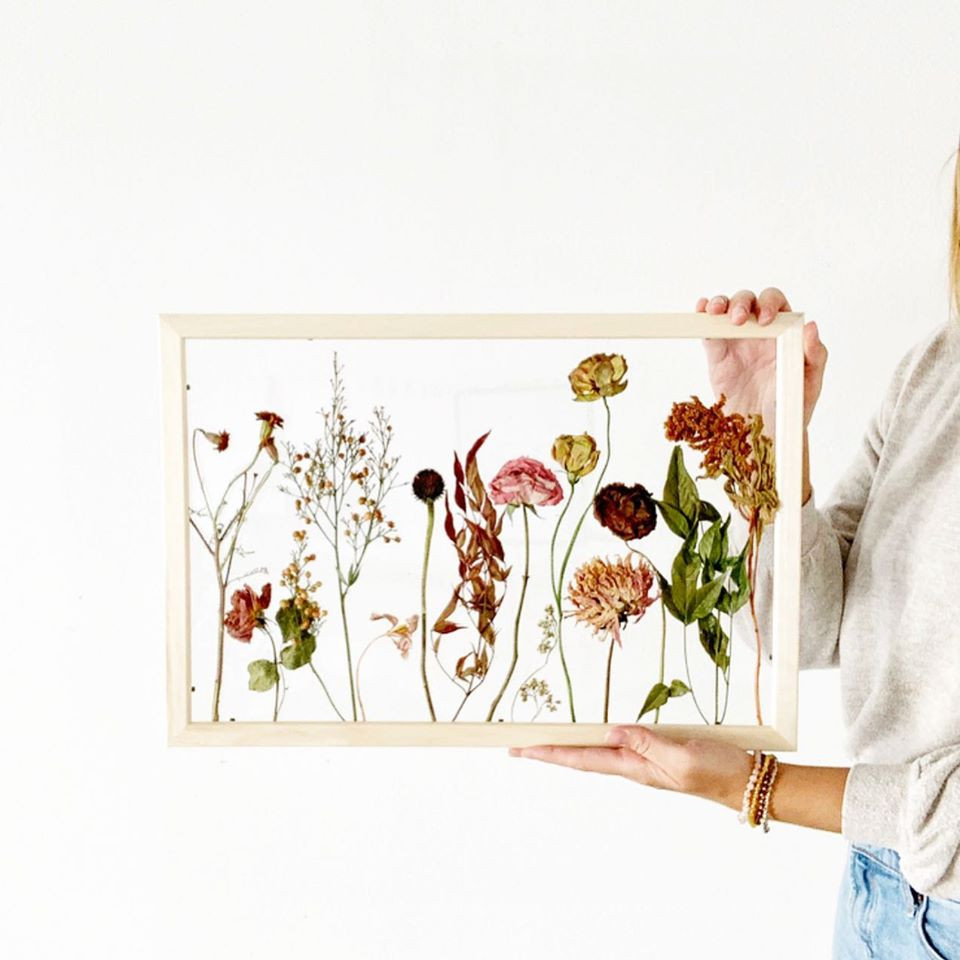 Dried and framed floral art by Boston Flower Co.