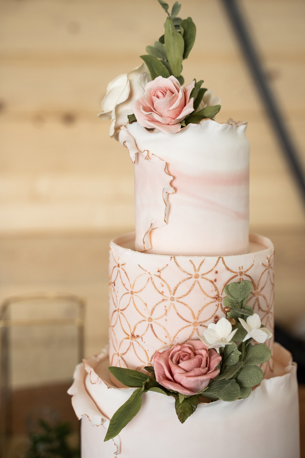 blush and gold fondant cake by Sugar Flower Cake Design