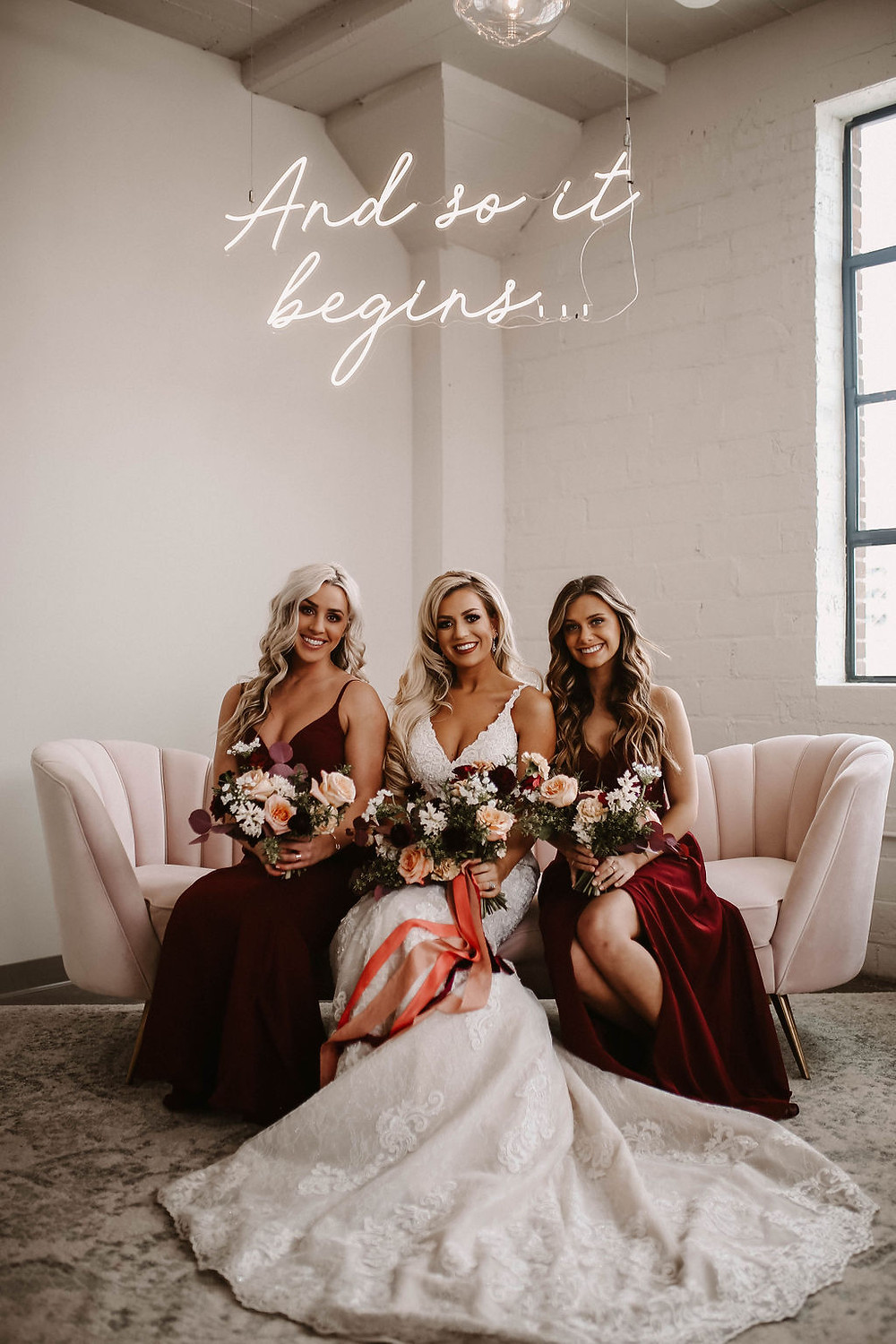 bride and maids at the HarMac with Studio Bloom wedding flowers