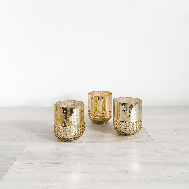gold mercury glass votive tall