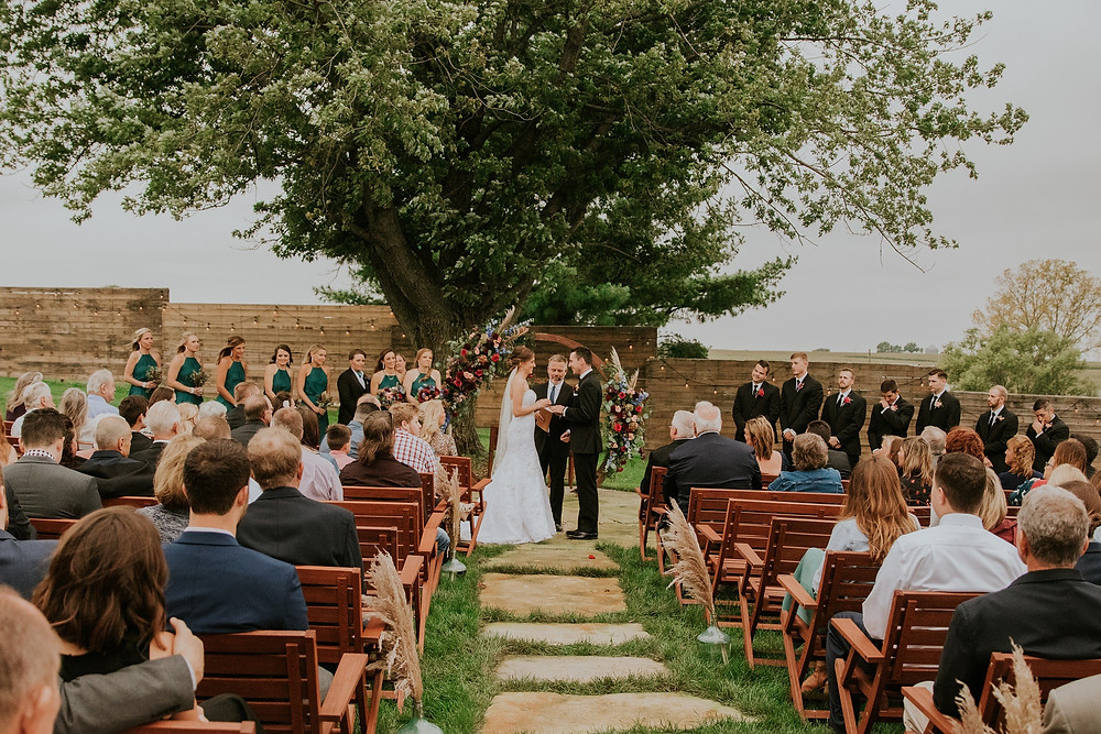 Outdoor wedding at Little Lights on the Lane with moongate floral arch by Studio Bloom