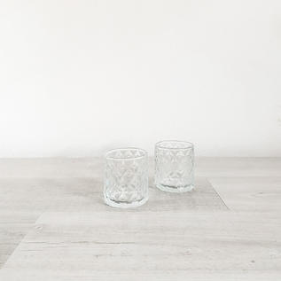 quinn clear glass patterned votive