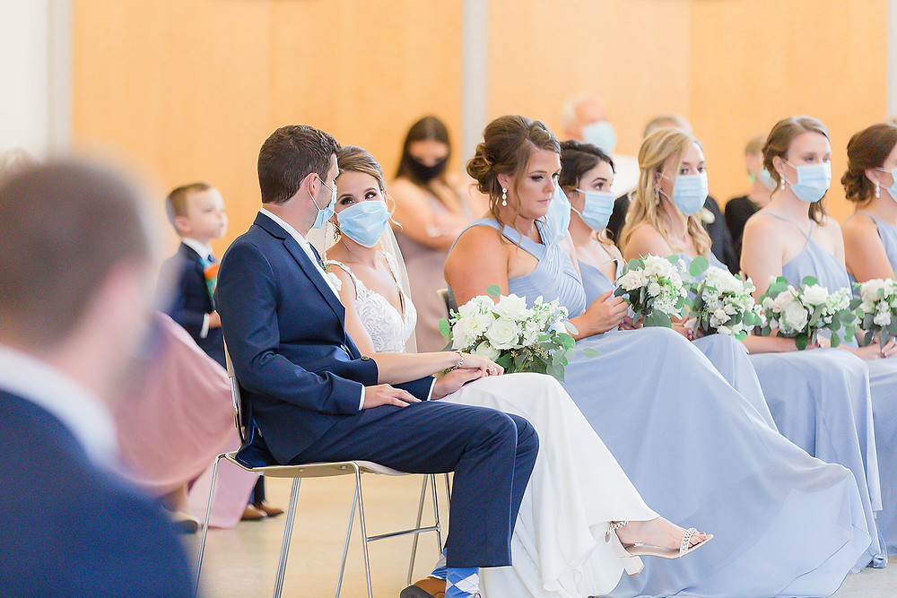 iowa wedding during covid 19 bridal party in masks