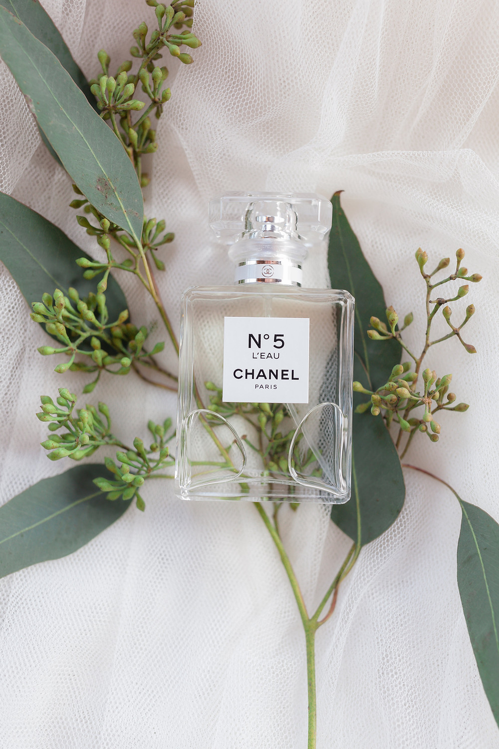 bottle of chanel no. 5 perfume with eucalyptus