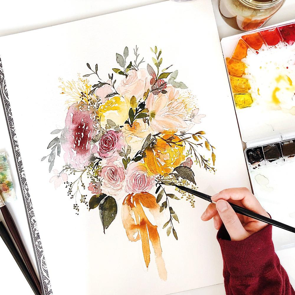 Watercolor Bridal Bouquet Art by Salt Stains