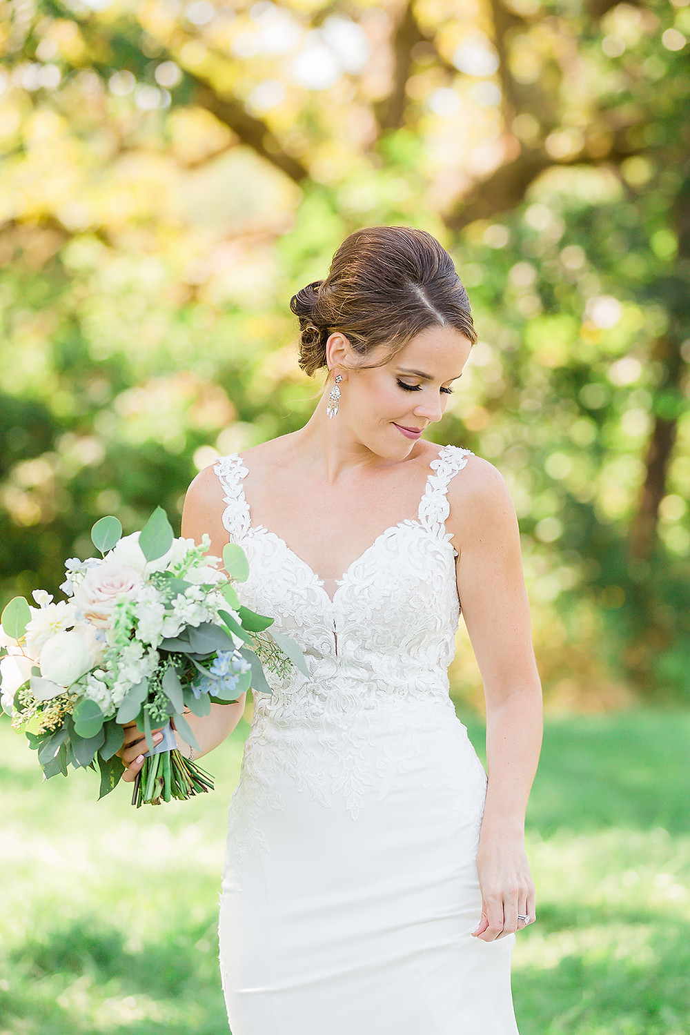 beautiful bride outdoors at Rapid Creek Cidery in Iowa City