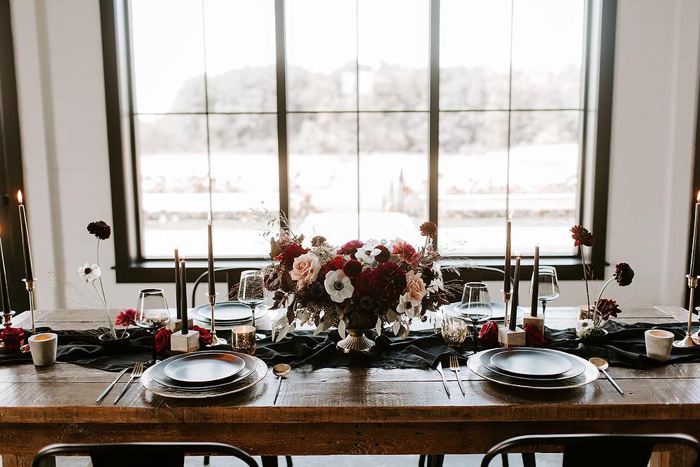 moody black and burgundy wedding floral centerpiece by Studio Bloom Iowa