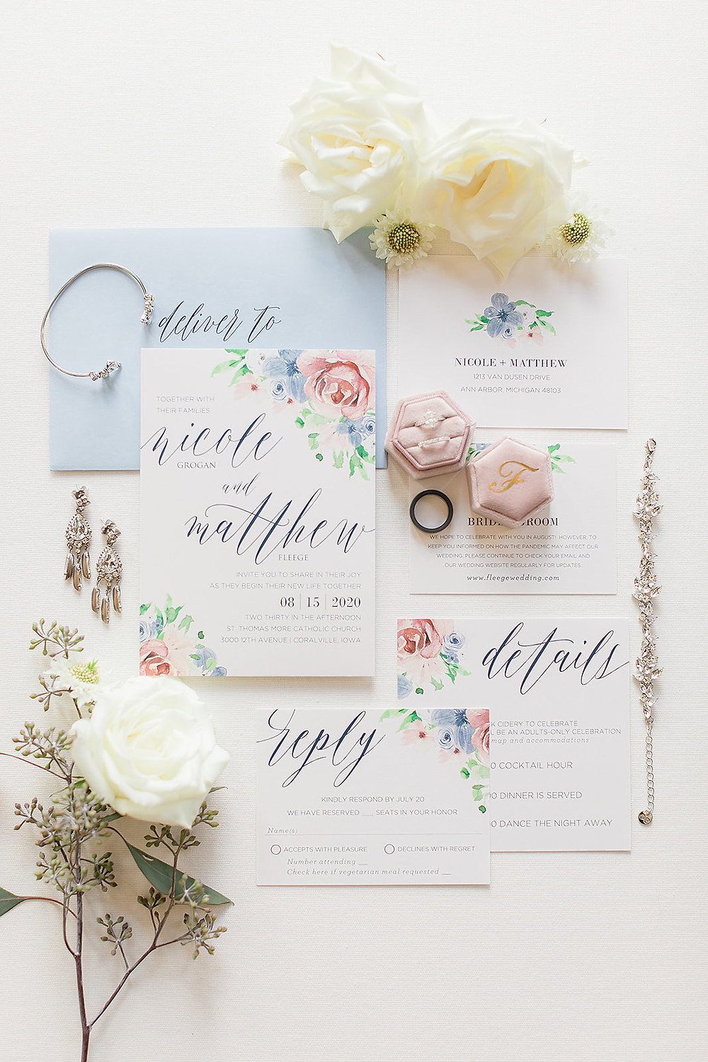 blush and blue floral invitation suite