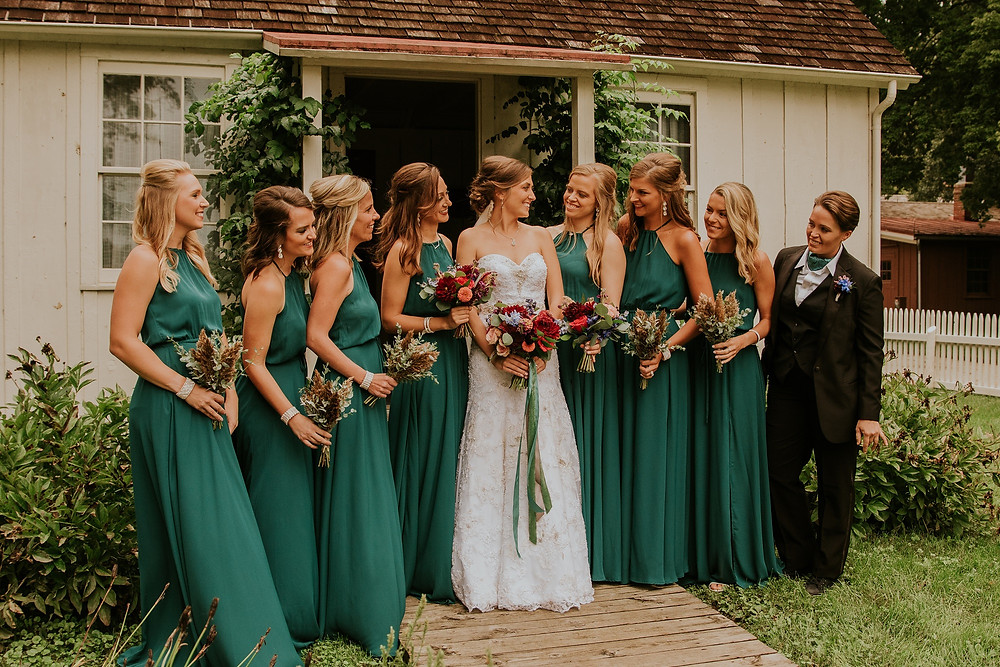 bridesmaids in green dresses at Herbert Hoover museum in West Branch Iowa