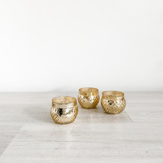 gold mercury glass votive short