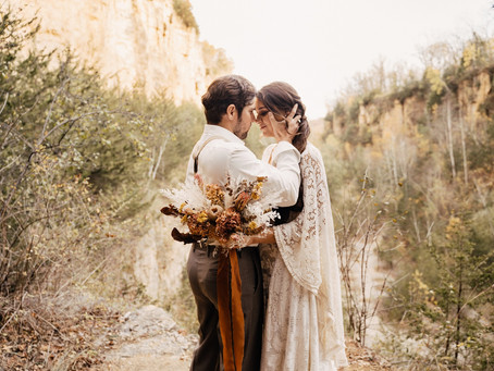 Earthy Boho Wedding Photo Session at The Mines of Spain | Dubuque, Iowa