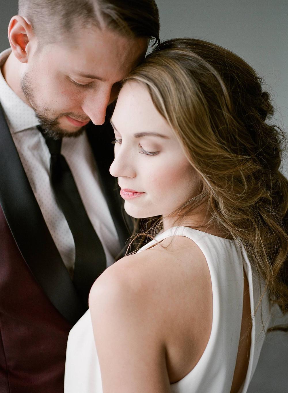 Modern bride and groom closeup