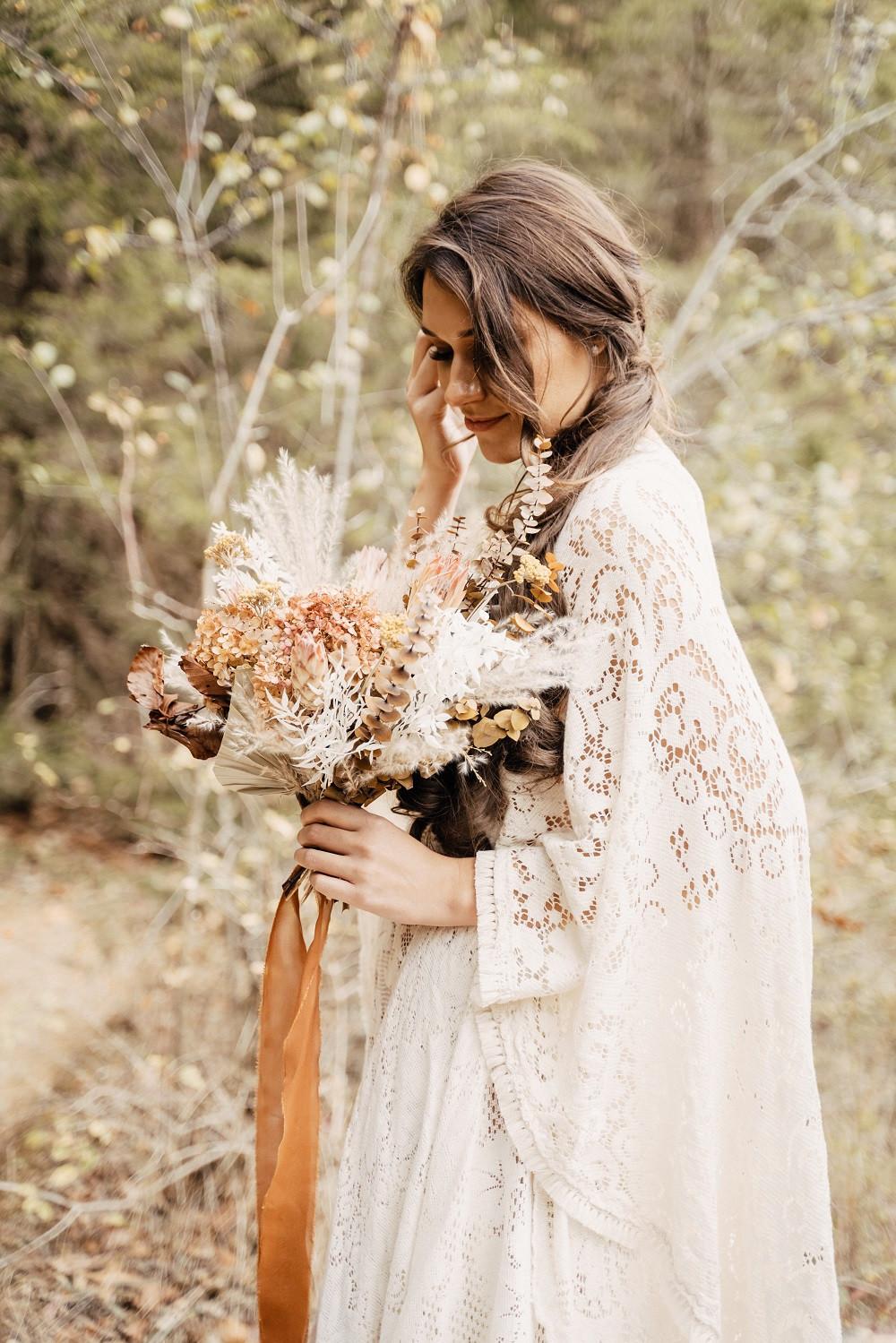 dried boho bridal bouquet by Studio Bloom Iowa