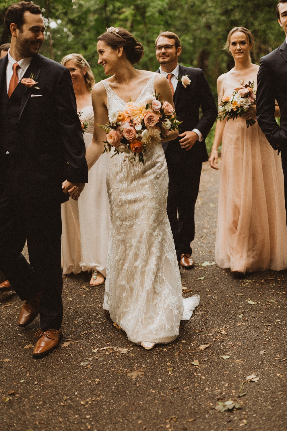 moody peach and blush bridal bouquet by Studio Bloom Iowa wedding florist