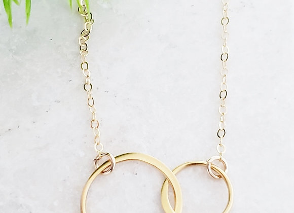 Two Intertwined Circle Necklace