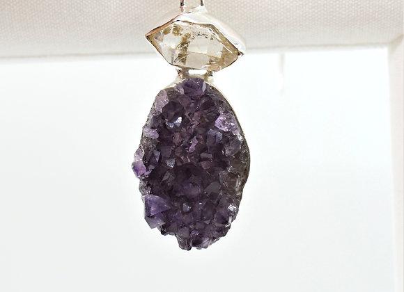 Amethyst Druzy Herkimer Diamond Pendant