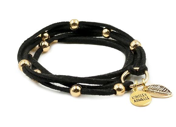 Black with gold beads, Wrap Bracelet