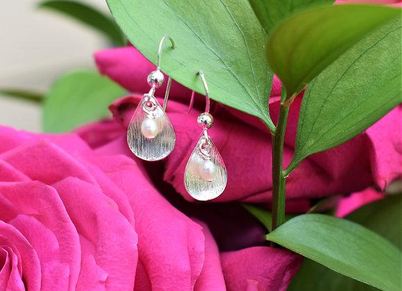 White Pearl Petal Drop Earrings