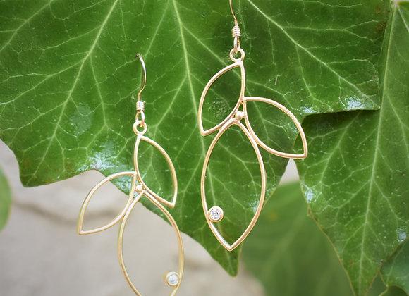 Gold Triple Leaf w/ Crystal Earrings