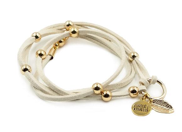 Khaki  w/gold Wrap Bracelet