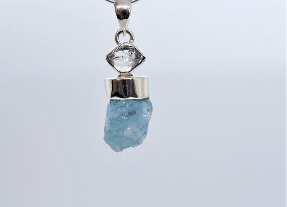Aquamarine Chunk & Herkimer Diamond Pendant