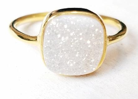 Druzy Rainbow Moonstone Ring