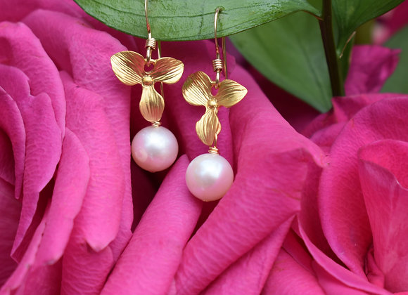 White Pearl Gold Orchid Earrings