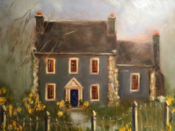 """Daffodil Cottage"" 18"" x 24"" Original Oil on Linen"