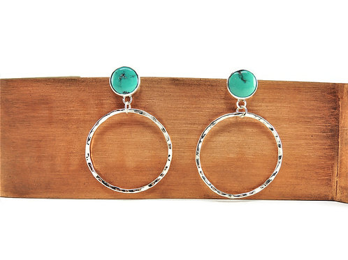 Turquoise & Hammered Sterling Silver Earrings by Cassie Leaders