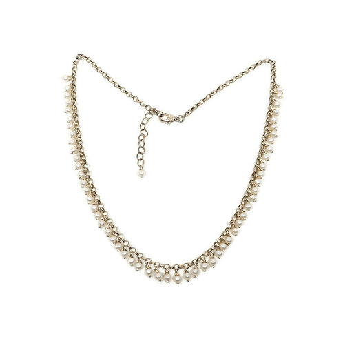 Sterling silver pearl fringe necklace by Cassie Leaders