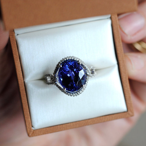 7.96ct Oval Tanzanite and Diamond Ring
