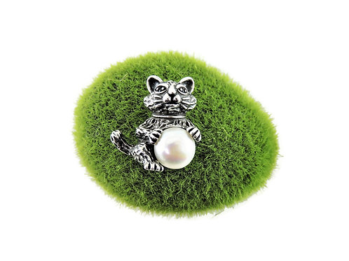 Sterling Silver & Pearl Cat Pendant