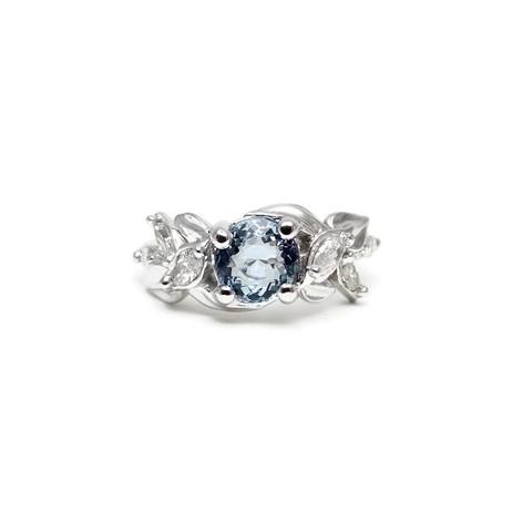 Aquamarine & diamond engagement ring