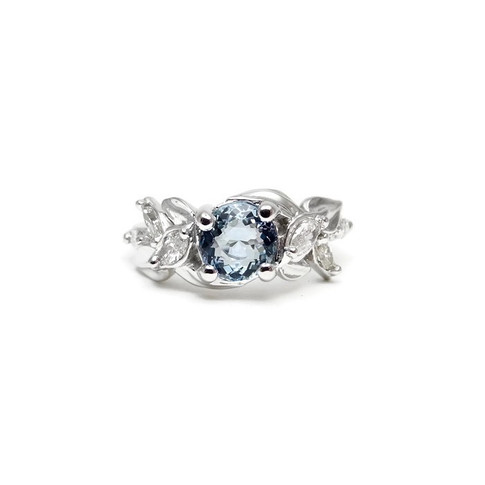Aquamarine and Diamond Leaf Ring